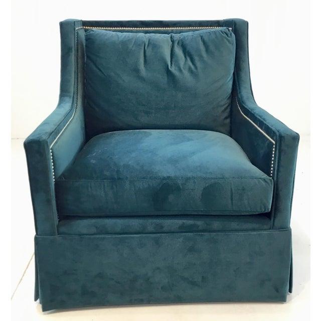 Stylish Gabby Helena Blue Velvet Modern Swivel Club Chair, nickel nailhead accents, showroom floor sample, original retail...