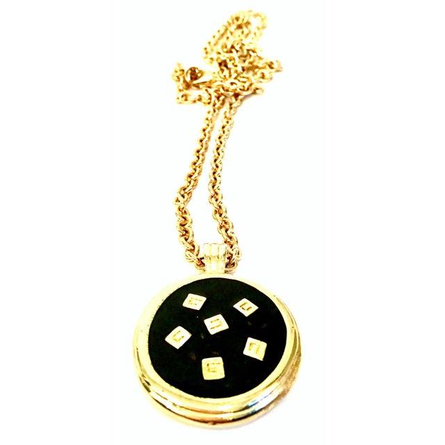"20th Century Givenchy Gold Plate & Black Enamel Raised ""G"" Logo Reversible Locket Style Pendant Opera Length Necklace...."