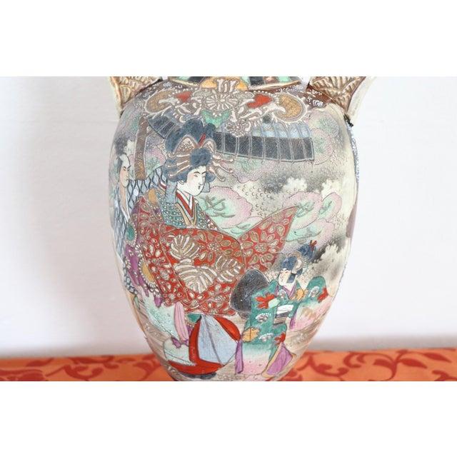 Ceramic 20th Century Japanese Vintage Artistic Satsuma Vase in Decorated Ceramic For Sale - Image 7 of 12