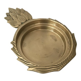 1970s Hollywood Regency Brass Pineapple Wine Bottle Coaster For Sale