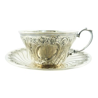 Antique French Sterling Silver Cup and Saucer by Ravinet & Denfert For Sale