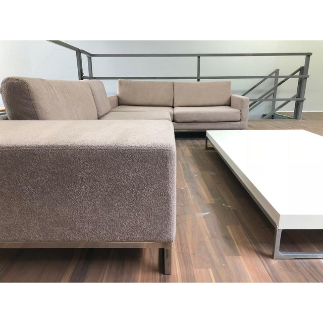 Chrome Ligne Roset Styled Sectional Modern Sofa With Chrome Base For Sale - Image 7 of 13