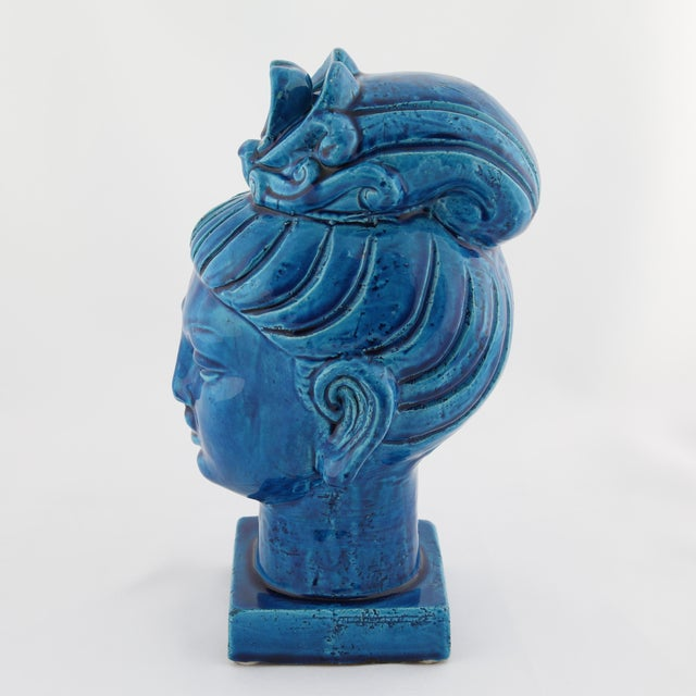 """Rimini Blu"" ceramic Guan Yin bust by Aldo Londi for Bitossi, circa 1960s For Sale - Image 11 of 13"