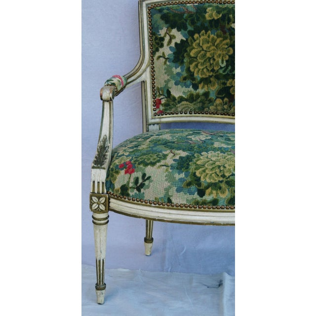 Scalamandre Marly Velvet Tapestry Fabric Armchair - Image 3 of 11
