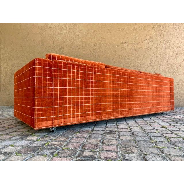 1970s 70s Orange Stripped Long Sofa Baughman/Probber Era For Sale - Image 5 of 9