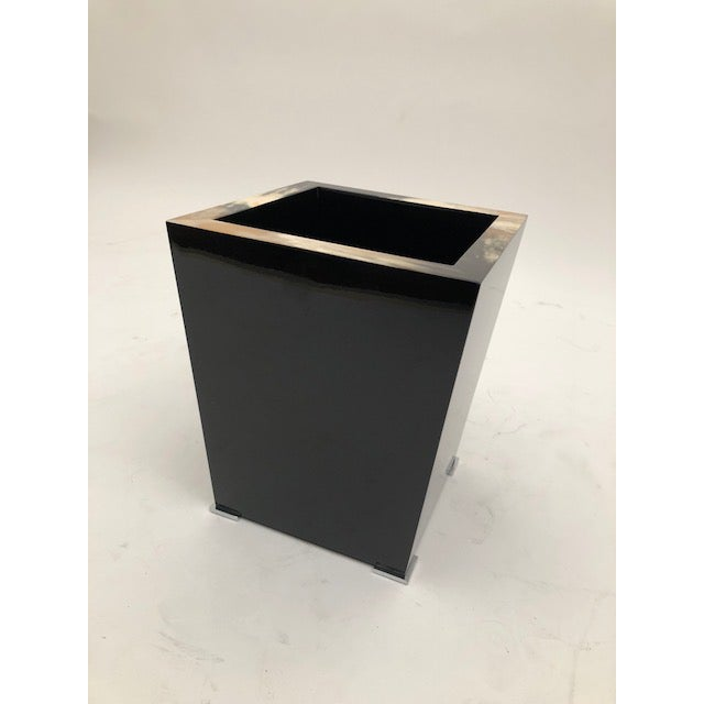 Early 21st Century Black Lacquer and Horn Waste Paper Basket For Sale - Image 5 of 6