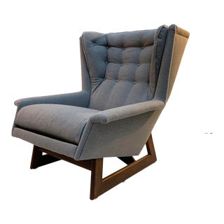 Mid Century Adrian Pearsall for Craft Associates Wingback Chair With Sculptural Walnut Base For Sale