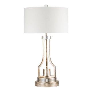 Buffet Traditional Drum Table Lamp, Distressed Silver For Sale
