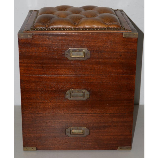 Animal Skin 19th Century Campaign Mahogany Storage Chest W/ Tufted Leather Seat For Sale - Image 7 of 7