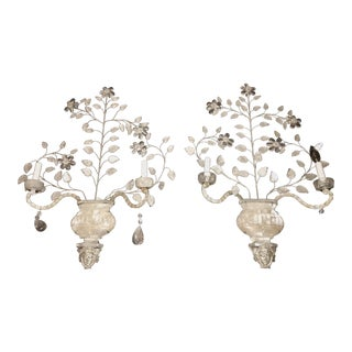1900s Vintage Rock Crystal Wall Sconces- A Pair For Sale