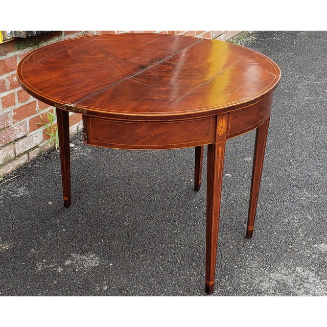 American Federal Inlaid & Figured Mahogany Demilune Games Table Rhode Island or Connecticut C1795 For Sale - Image 11 of 13