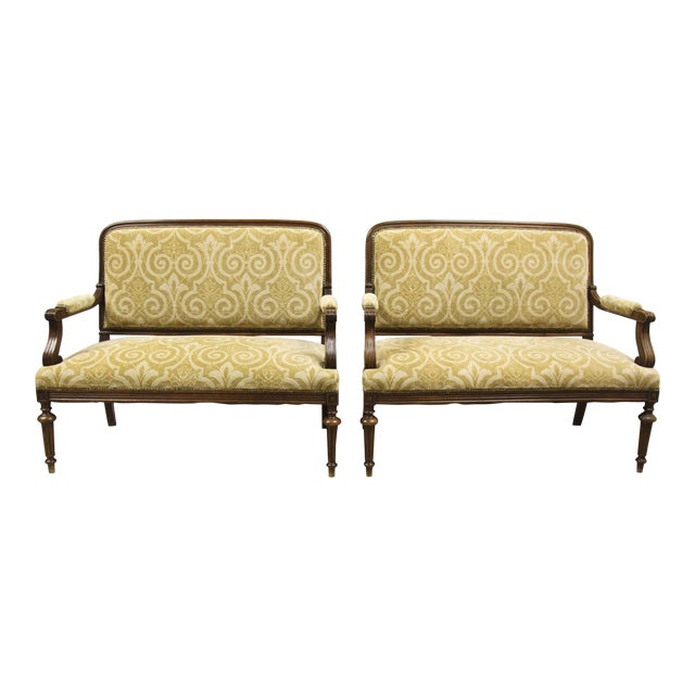 Antique French Settee Benches, Pair For Sale