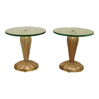 1950s Italian Me ic Art Glass Pair Pedestals, Side Tables For Sale