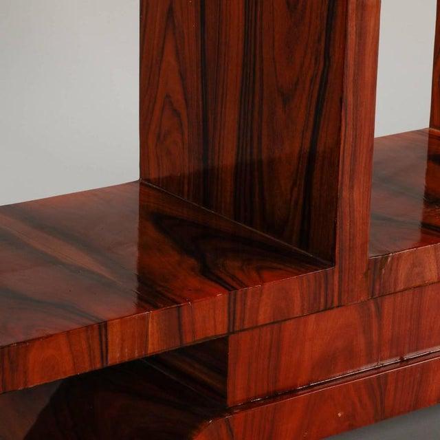 Burlwood 1940s Vintage French Art Deco Style Burl Wood Étagère For Sale - Image 7 of 9