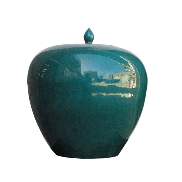 Chinese Teal Green Porcelain Ceramic Fat Jar - Image 1 of 5