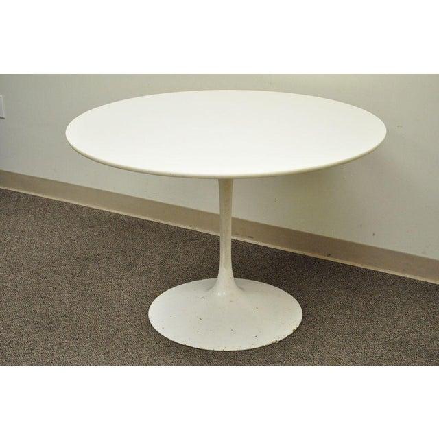 "Vintage Mid Century Modern Tulip Dining Set 42"" Table 4 Chairs Burke Saarinen - Image 3 of 11"