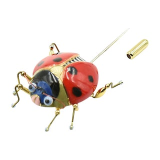 Lucky Ladybug Brooch by Jewelry 10 For Sale
