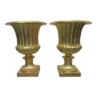 Pair Oversized Gold Gilded Urn Planters For Sale