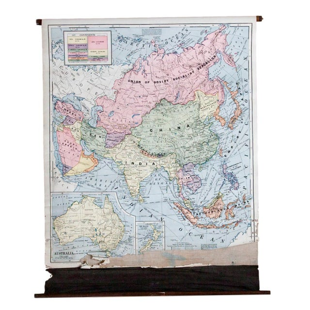 Vintage Cram's Pull Down Map of Asia and Australia For Sale