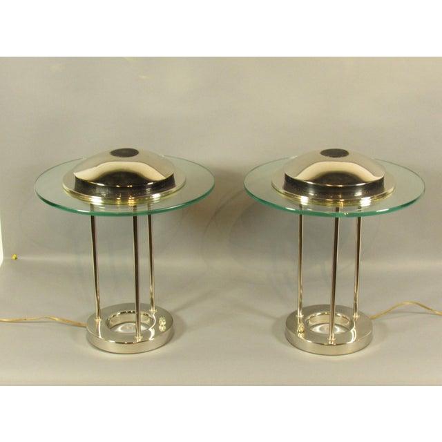 "A pair of vintage Mid Century Modern ""Saturn"" table lamps by Robert Sonneman."