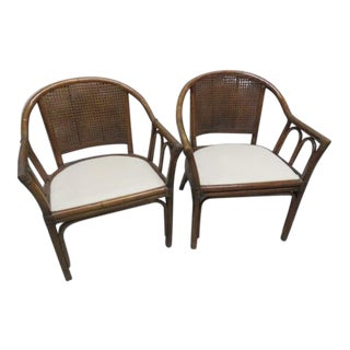 McGuire Style Rattan Cane Chair a Pair For Sale