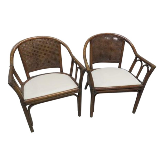 McGuire Style Rattan Cane Chair a Pair Last Markdown Firm For Sale