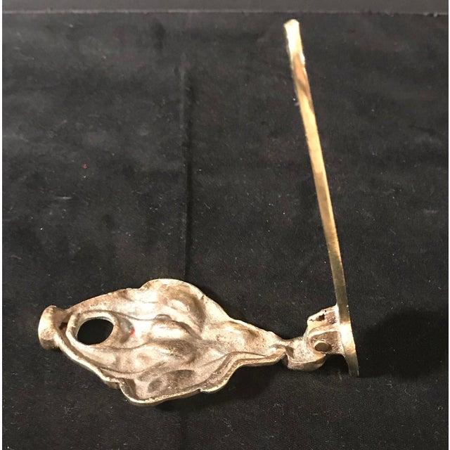 Metal Vintage Brass English Female Figure Door Knocker For Sale - Image 7 of 10