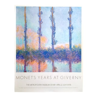 """Claude Monet Rare Vintage 1978 Impressionist Lithograph Print Metropolitan Museum Exhibition Poster """" Poplars """" 1891 For Sale"""