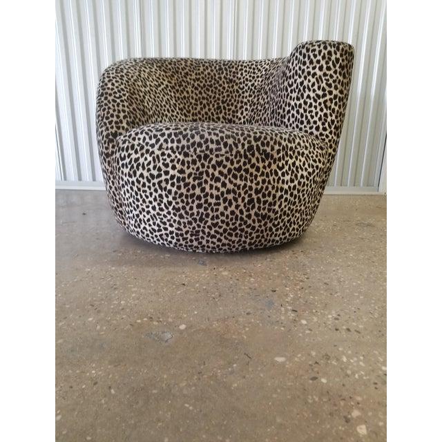 Cotton Vladimir Kagan Nautilus Swivel Covered in a Cheetah Velvet For Sale - Image 7 of 7