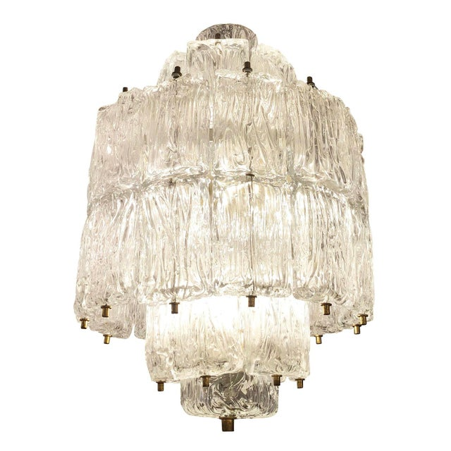 Gold Barovier and Toso Textured Glass Chandelier, Italy, 1950's For Sale - Image 8 of 8