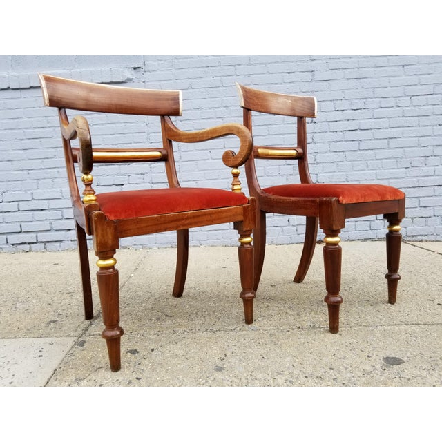Empire Antique Neoclassical Mahogany Gilt Side Chairs - a Pair For Sale - Image 3 of 11