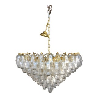 Contemporary Poliedro Transparent and Gold Murano Glass Chandelier For Sale