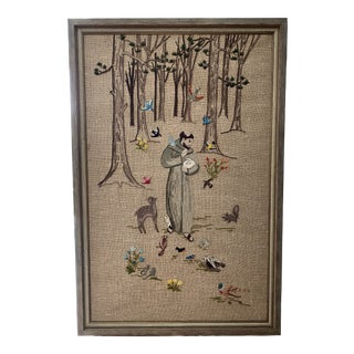 Vintage 1977 Hand Embroidered St. Francis Tapestry For Sale