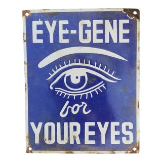 Vintage Enamel Eye Sign For Sale
