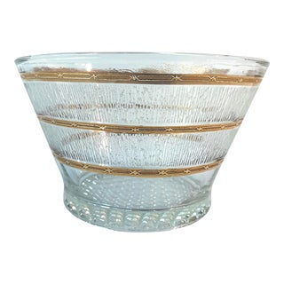 Vintage Glass and Gold Leaf Bowl Ice Bucket For Sale