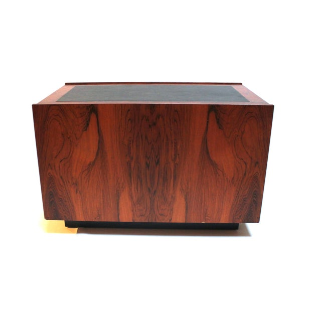 1960s bornholm danish rosewood leather storage side tables a pair for sale image - Leather Side Tables