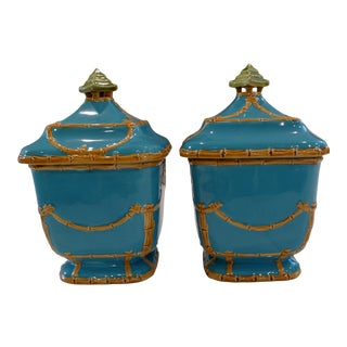 Asian Style Lidded Bamboo & Turquoise Canisters- a Pair For Sale