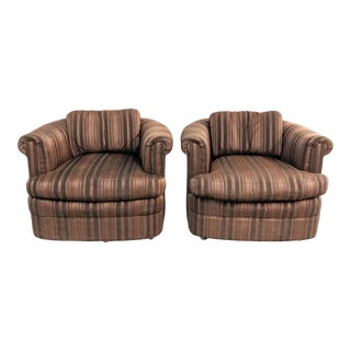 1970s Vintage Barrel Back Lounge Chairs - a Pair For Sale