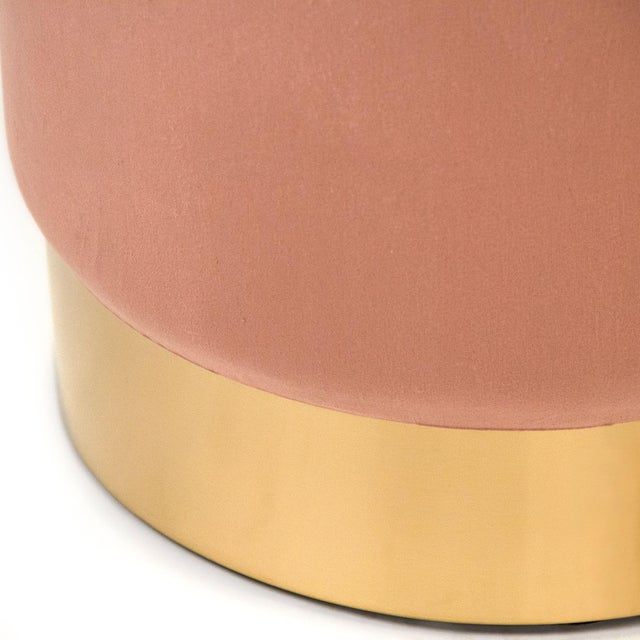 Spruce Mauve Rose Velvet Stool in Rose For Sale - Image 4 of 5
