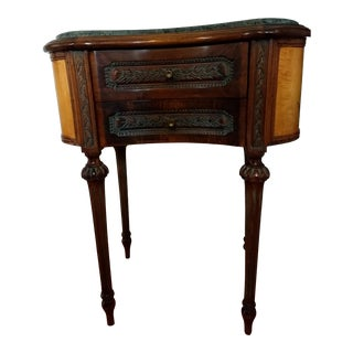 Vintage French Kidney Shaped Marble-Top Side/Accent Table With Two Drawers For Sale