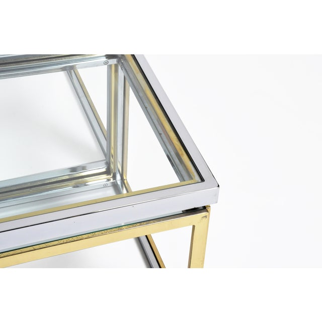 Gold 1970s Five-Piece Brass Table Set With Glass Top For Sale - Image 8 of 13