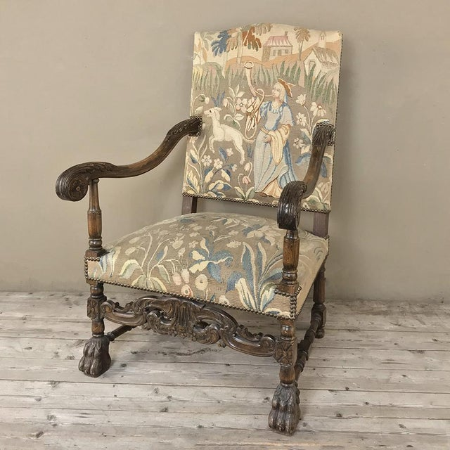 19th Century French Louis XIII Armchair With Tapestry For Sale - Image 4 of 12