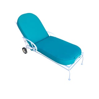 Steel Scrolling Reclining Outdoor / Patio Chaise Lounge by Woodard For Sale