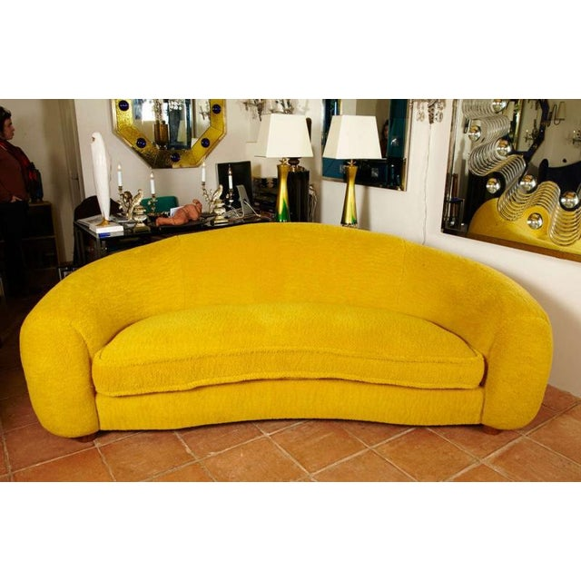 """Jean Royère Genuine Iconic """"Ours Polaire"""" Couch in Yellow Wool Faux Fur (in last photos :Genuine vintage condition of the..."""