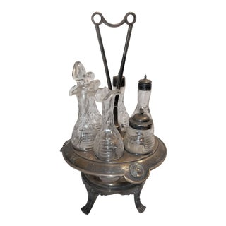 Antique Cruet Condement Server Set by Manhattan Plate Co. & Hand Blown Glass Vessels For Sale