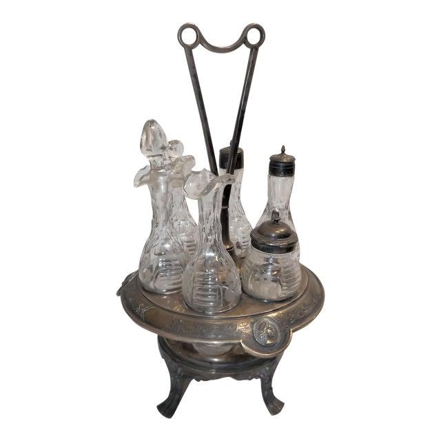 Antique Cruet Condement Server Set by Manhattan Plate Co. & Hand Blown Glass Vessels For Sale