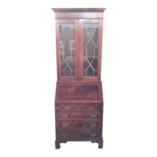 Flame Mahogany Secretary Bookcase For Sale