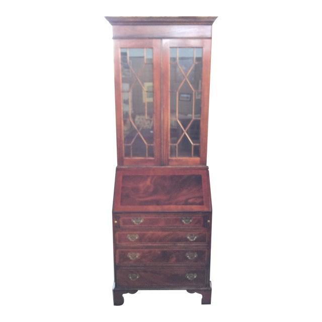 Flame Mahogany Secretary Bookcase For Sale