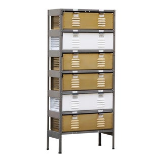 1 X 6 Locker Basket Unit With Specialty Double-Wide Baskets, Custom Made to Order For Sale