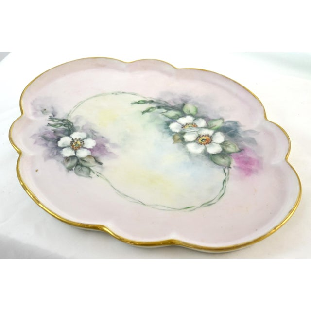 Limoges, France Antique Limoges Floral Tray For Sale - Image 4 of 7
